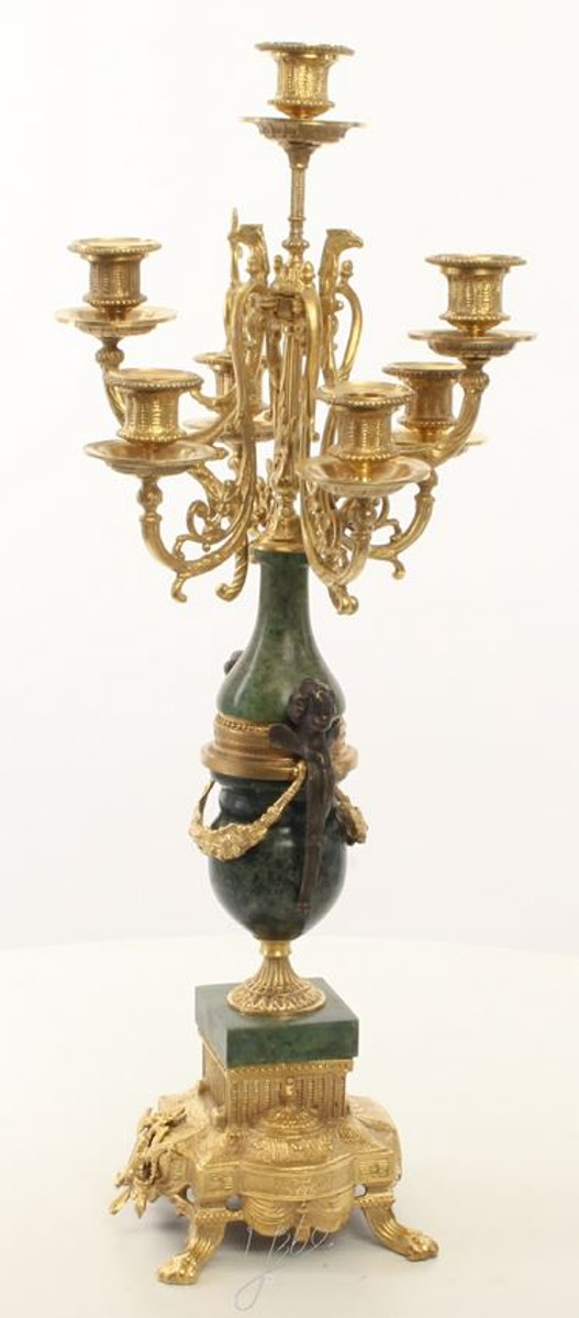 Casa Padrino Barock Kerzenständer Set Gold / Grün 22 x 26 x H. 62,4 cm - Barockstil Möbel 2