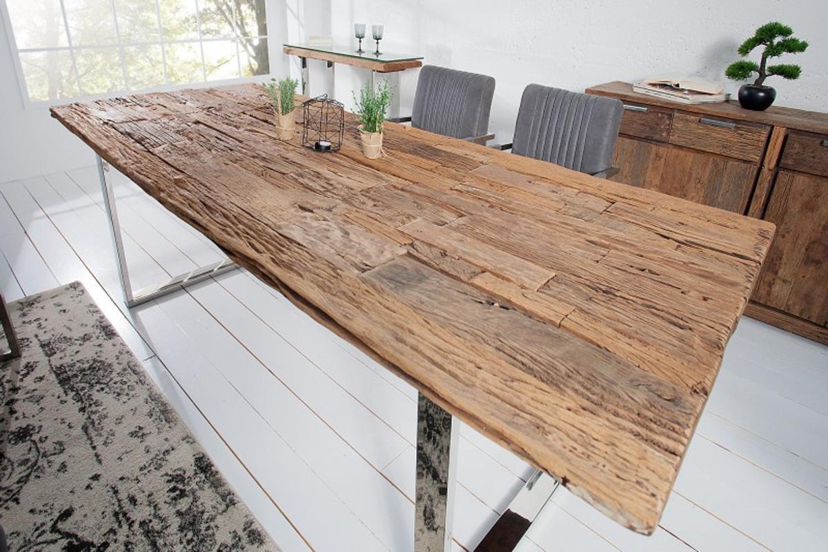 Casa Padrino Designer Massivholz Esstisch Natur Mod2 - Teakholz - 200 x 100 x H.75 cm - Aus massivem Teakholz 1