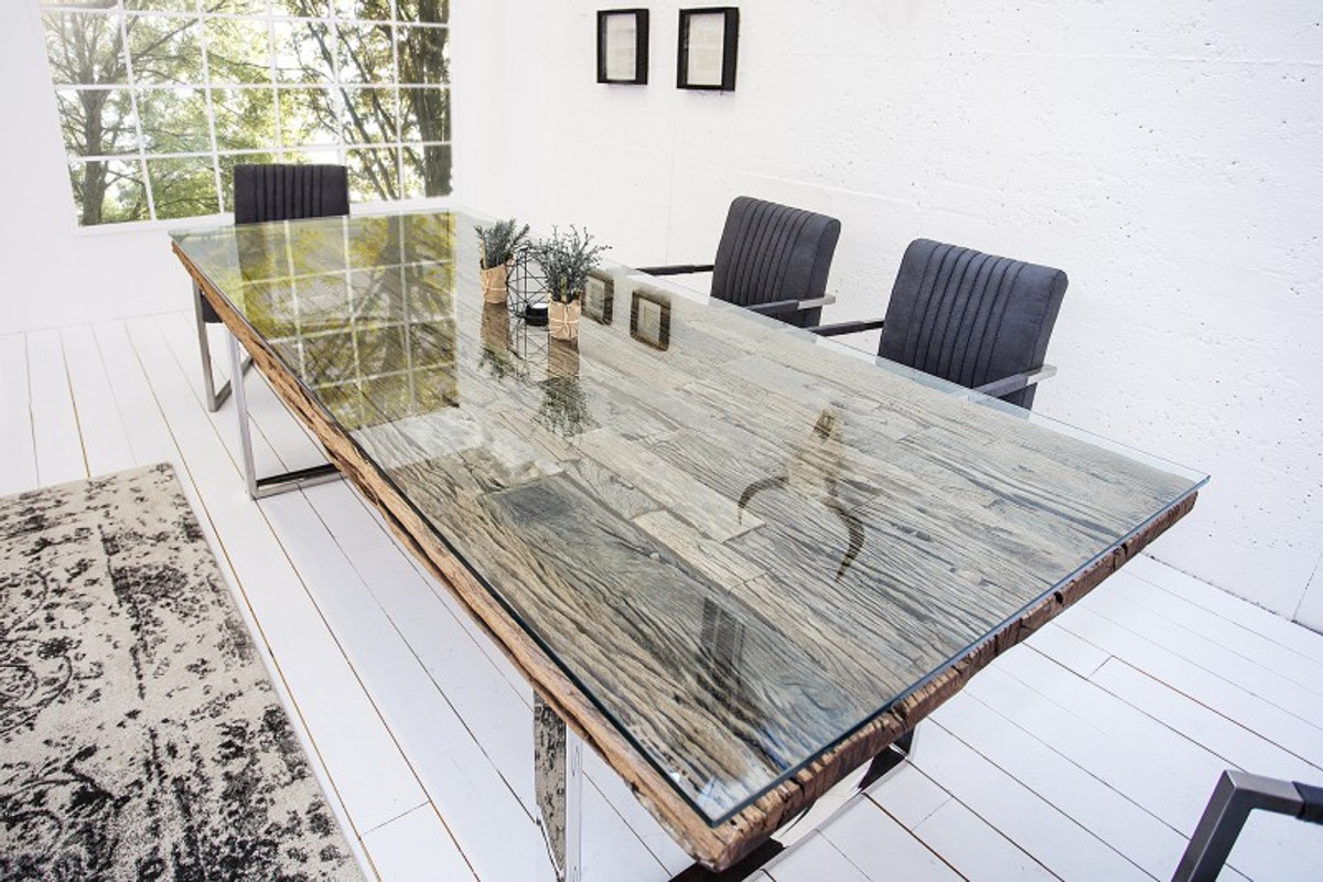 Casa Padrino Designer Massivholz Esstisch Natur Mod2 - Teakholz - 200 x 100 x H.75 cm - Aus massivem Teakholz 2