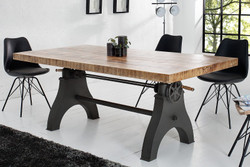 Casa Padrino Designer solid wood dining table natural - Mango wood - 200 x 100 x H.75 - 105 cm - Made of solid mango wood - Height adjustable