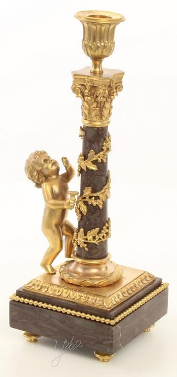 Casa Padrino Jugendstil Kerzenhalter Set Gold / Schwarz 11 x 12,4 x H. 31,5 cm - Barock & Jugendstil Deko 1