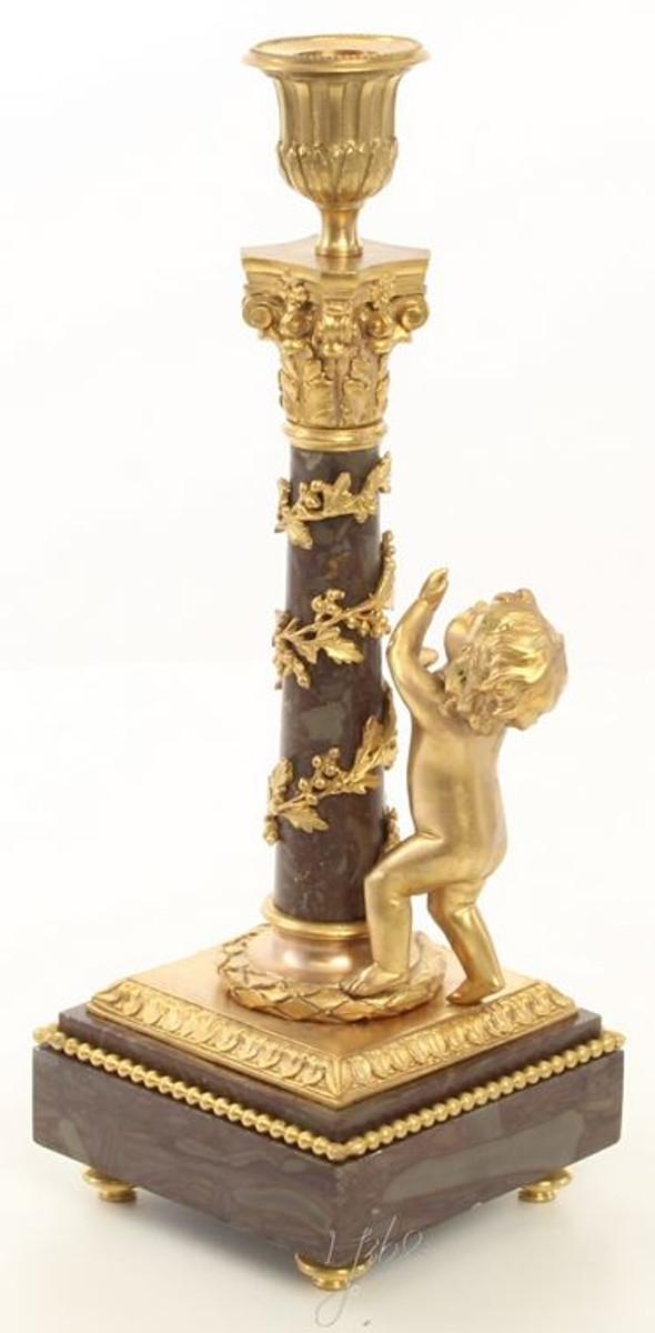 Casa Padrino Jugendstil Kerzenhalter Set Gold / Schwarz 11 x 12,4 x H. 31,5 cm - Barock & Jugendstil Deko 3