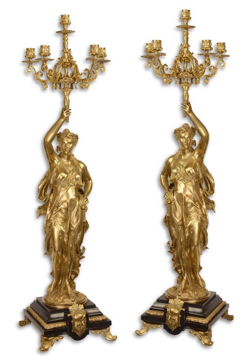 Casa Padrino Barockstil Kerzenständer Set Gold / Schwarz 33,5 x 26 x H. 100 cm - Barockmöbel 1