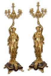 Casa Padrino Baroque Candlestick Set Gold / Black 33.5 x 26 x H. 100 cm - Baroque Furniture