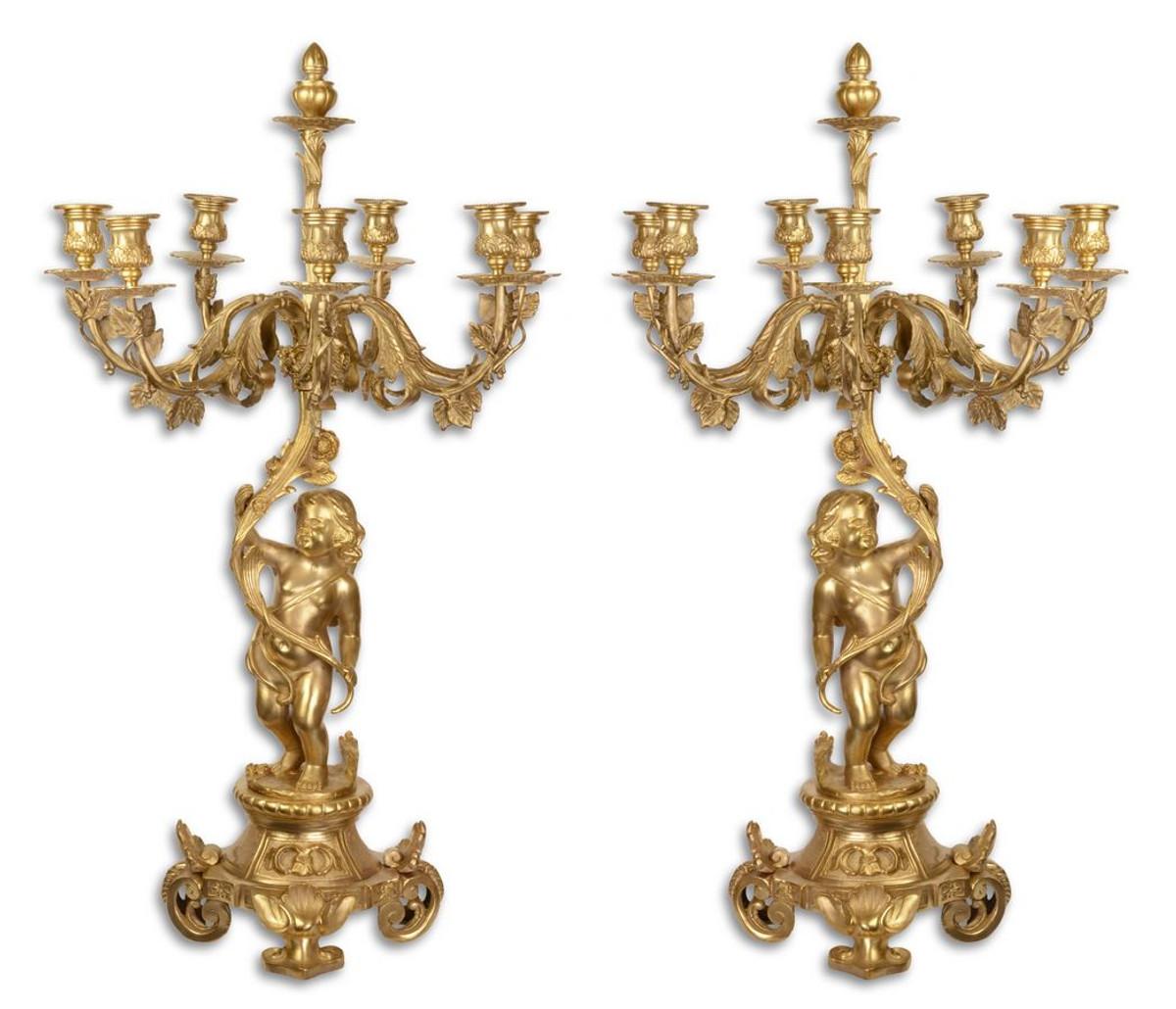 Casa Padrino Barock Kerzenständer Set Gold 46 x 46 x H. 83 cm - Edel & Prunkvoll 1