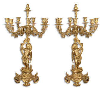 Casa Padrino Barock Kerzenständer Set Gold 46 x 46 x H. 83 cm - Edel & Prunkvoll