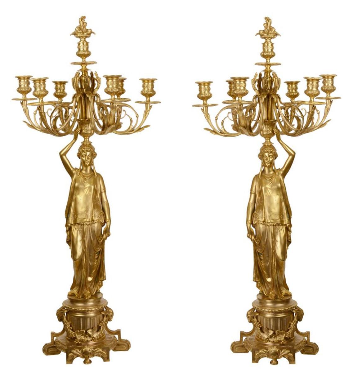 Casa Padrino Barock Kerzenständer Set Gold 37,5 x 32,5 x H. 86 cm - Edel & Prunkvoll 1