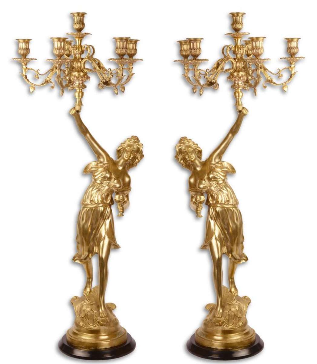 Casa Padrino Barock Kerzenständer Set Gold 32,5 x 32,5 x H. 87 cm - Hotel & Restaurant Deko 1