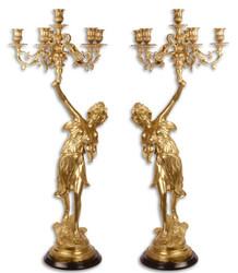 Casa Padrino baroque candlestick set gold 32.5 x 32.5 x H. 87 cm - Hotel & Restaurant Decoration