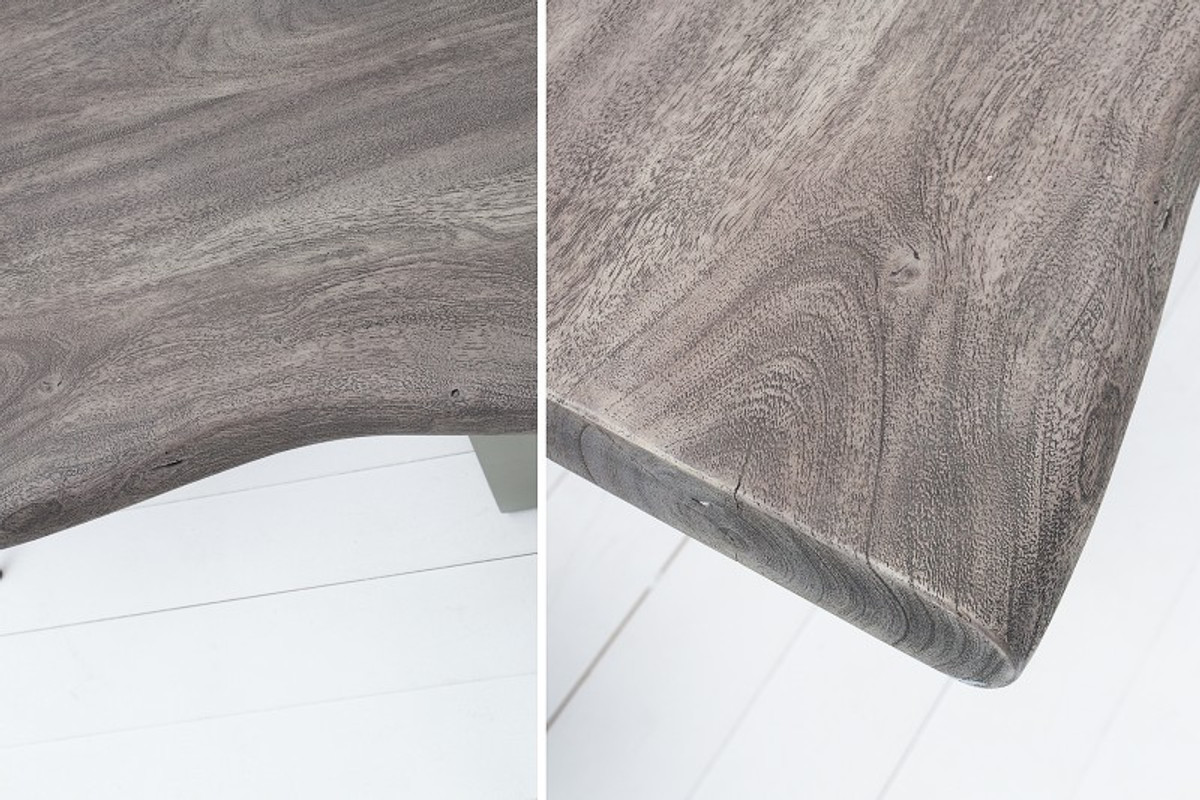 Casa Padrino Designer Massivholz Esstisch Grau - Akazie - 200 x 100 x H.77 cm - Aus massivem Akazienholz 3