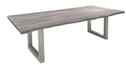 Casa Padrino Designer Solid Wood Dining Table Gray - Acacia - 200 x 100 x H.77 cm - Made of solid acacia wood