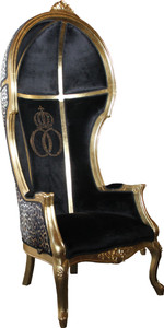 Pompöös by Casa Padrino Luxury Balloon Baroque Chair Isabelle Black / Leopard with glittering crown - Pompööser Baroque Armchair designed by Harald Glööckler – Bild 2