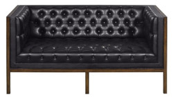Casa Padrino Chesterfield Genuine Leather 2-Seater Sofa Black / Brown 143 x 78 x H. 71 cm - Hotel Furniture