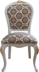 Pompöös by Casa Padrino Luxury Baroque Dining Chair in Beige White / Gold with Crown - Pompööser Baroque Chair designed by Harald Glööckler