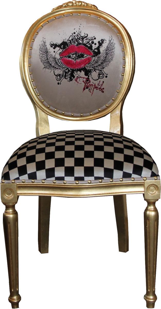 Pomp s by casa padrino luxus barock esszimmer stuhl creme karo gold rote lippen - Luxus esszimmer ...