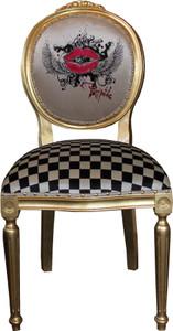 Pompöös by Casa Padrino Luxus Barock Esszimmer Stuhl Creme / Karo / Gold - Rote Lippen - Pompööser Barock Stuhl designed by Harald Glööckler – Bild 1