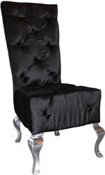 Casa Padrino designer dining chair black / silver - luxury quality - high-back chair