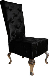 Casa Padrino designer dining chair black / silver - luxury quality - high-back chair