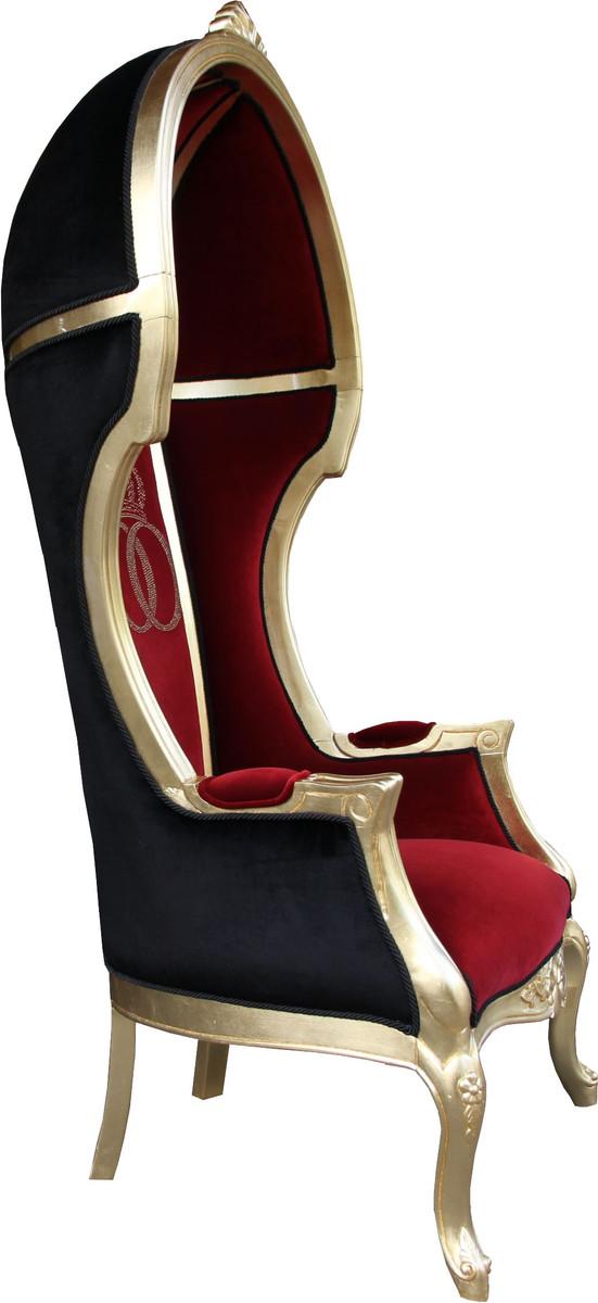 pomp s by casa padrino luxus ballon barock sessel isabelle bordeaux schwarz mit glitzernder. Black Bedroom Furniture Sets. Home Design Ideas