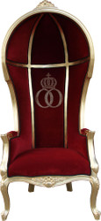 Pompöös by Casa Padrino Luxury Balloon Baroque Chair Isabelle bordeaux / black with glittering crown - Pompööser Baroque Armchair designed by Harald Glööckler