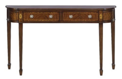 Casa Padrino Luxury Art Nouveau Mahogany Console Brown 130 x 30 x H. 78 cm - Console Table with 2 Drawers in French Art Nouveau Style