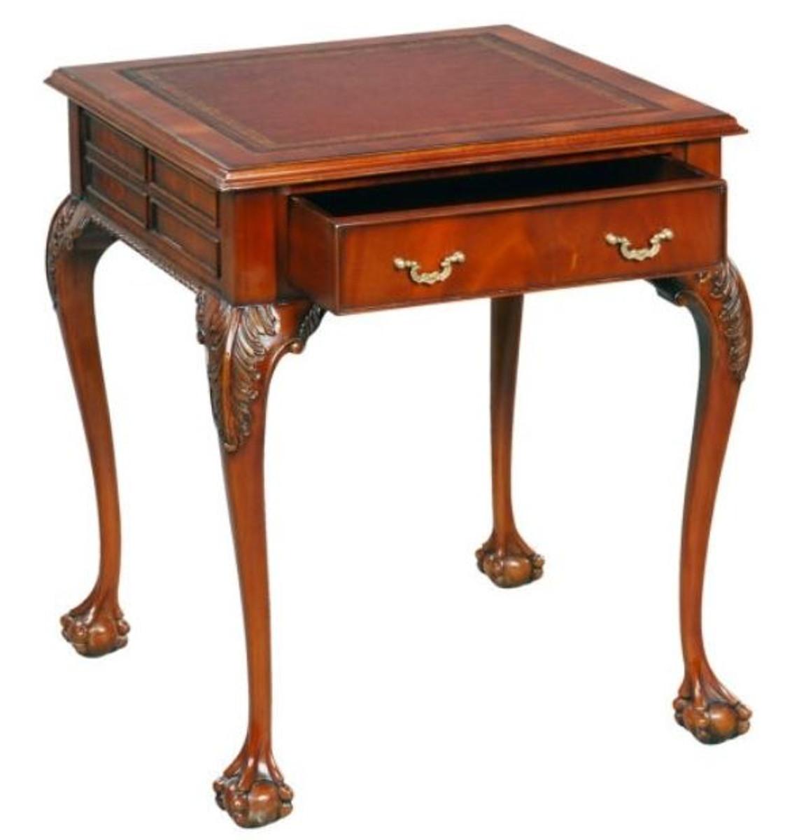 Casa Padrino Table d\'Appoint Baroque en Acajou de Luxe Rouge Marron / Brun  56 x 56 x H. 66 cm - Mobilier de Salon Baroque et Art Nouveau