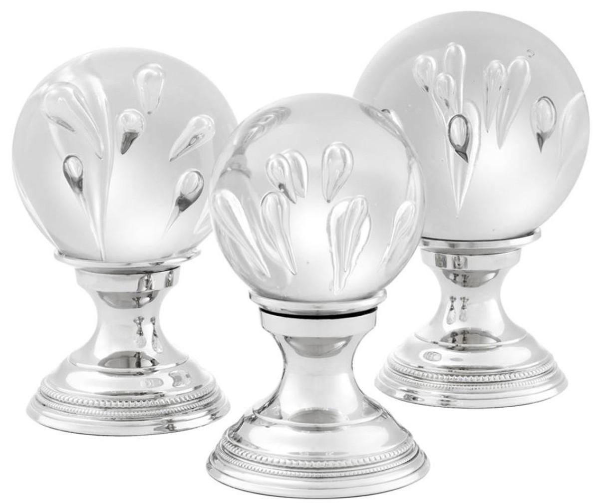 Casa Padrino Luxus Wohnzimmer Deko 3er Set Silber   Glas Kugeln Mit Messing  Sockel U2013 Bild