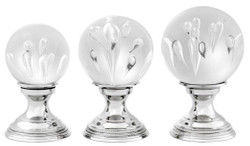 Casa Padrino Luxury Living Room Deco Set of 3 Silver - Glass Balls with Brass Pedestal