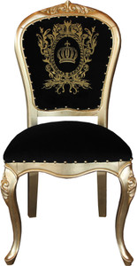 Pompöös by Casa Padrino Luxury Baroque Dining Chair Black / Gold with Crown - Pompööser Baroque Chair designed by Harald Glööckler – Bild 1