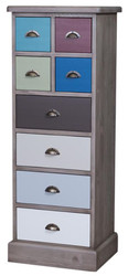 Casa Padrino Country Syle Chest with 8 Drawers Gray / Multicolor 46 x 36 x H. 122 cm - Country Style Furniture