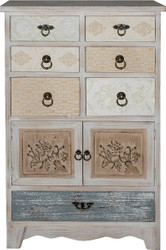 Casa Padrino Country Style Shabby Chic Chest Antique White / Multicolor 60 x 35 x H. 97 cm - Handcrafted Chest with 2 Doors and 7 Drawers