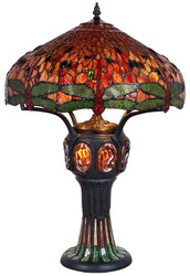 Casa Padrino Tiffany Table Lamp Black / Multicolour Ø 57.5 x H. 83 cm - Luxury Quality
