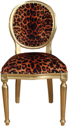 Casa Padrino Baroque Luxury Dining Chair Leopard / Gold - Designer Chair - Hotel & Restaurant Furniture - Luxury Quality