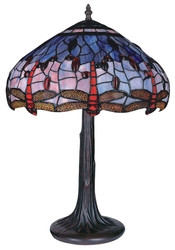 Casa Padrino Tiffany Table Lamp / Table Light Dragonfly Multicolored Ø 43 x H. 59 cm - Luxury Collection