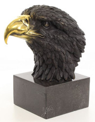 Casa Padrino Luxury Bronze Figure Eagle Head on Marble Base Black / Gold 17.9 x 27 x H. 33.2 cm - Living Room Deco
