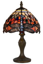 Casa Padrino Tiffany Stool Light / Table Lamp Dragonflies Multicolor Ø 21.5 x H. 35 cm - Luxury Quality