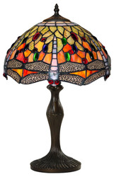 Casa Padrino Tiffany Table Lamp Dragonflies Multi-Colored Ø 31.5 x H. 47.5 cm - Handmade table Light