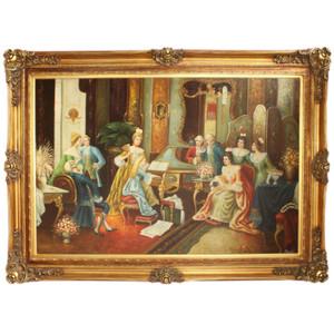Riesiges Handgemaltes Barock Öl Gemälde Gesellschaft Gold Prunk Rahmen 225 x 165 x 10 cm - Massives Material – Bild