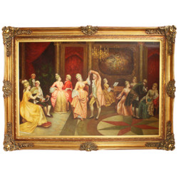 Huge hand-painted Baroque oil painting dance gold pageantry 225 x 165 x 10 cm - Massive material