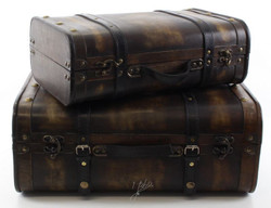 Casa Padrino Art Deco Travel Case Set Dark Brown - Wooden Suitcases