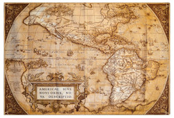 Casa Padrino Art Deco Tapestry World Map Brown / Beige 180 x 130 cm - Art Deco Furniture