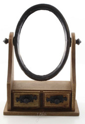 Casa Padrino Art Nouveau Make-Up Mirror Brown / Black 20 x 10.1 x H 27.8 cm - Small Table Mirror with 2 Drawers