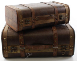 Casa Padrino Art Deco Travel Case Set of 2 Dark Brown / Brown - Art Deco Furniture