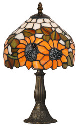 Casa Padrino Tiffany Stool Light Sunflower Multicolor Ø 31 x H. 33 cm - Handmade Luxury Table Lamp