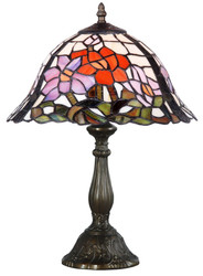 Casa Padrino Tiffany Table Lamp Flowers Multicolored Ø 31 x H. 46 cm - Handmade Luxury Table Light