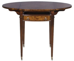 Casa Padrino luxury side table with drawer brown / light brown 89 x 76 x H. 64 cm - Living Room Side Table on Wheels