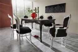 Casa Padrino Barock Esszimmer Set Schwarz/Silber - Esstisch + 6 Stühle