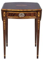 Casa Padrino luxury mahogany side table with drawer brown 96 x 77 x H. 73 cm - Living Room Furniture
