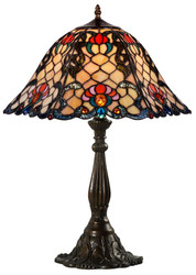 Casa Padrino Tiffany Table Lamp Multicolor Ø 44.5 x H. 61 cm - Handmade Luxury Table Light made of Glass Mosaic Pieces