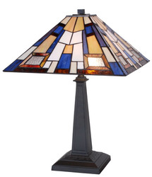 Casa Padrino Tiffany Table Lamp Black / Multicolor 44 x 44 x H. 60 cm - Handmade Luxury Table Light made of Numerous Glass Mosaic Pieces